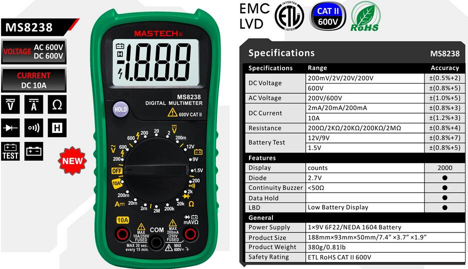 DIGITAL MULTIMETER - MS8238A/MS8238