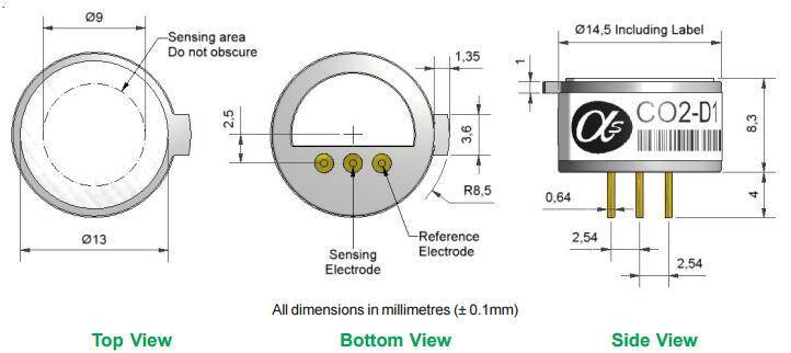 Solid State Carbon Dioxide Sensor Co2 Sensor Co2 D1